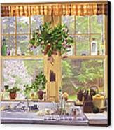 New England Kitchen Window Canvas Print