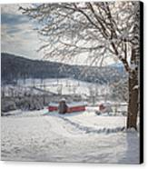 New England Winter Farms Morning Square Canvas Print
