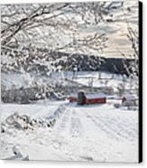 New England Winter Farms Square Canvas Print