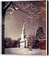 New England Winter Village Scene Canvas Print by Thomas Schoeller