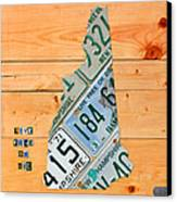 New Hampshire License Plate Map Live Free Or Die Old Man Of The Mountain Canvas Print by Design Turnpike