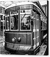 New Orleans Streetcar Black And White Picture Canvas Print