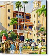 New Paddock At Del Mar Canvas Print by Mary Helmreich