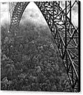 New River Gorge Bridge Black And White Canvas Print