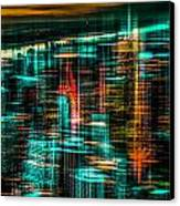 New York - The Night Awakes - Green Canvas Print by Hannes Cmarits