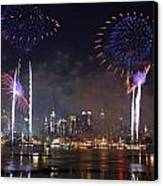 New York City Fireworks Show Canvas Print by Songquan Deng