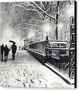 New York City - Winter - Snow At Night Canvas Print