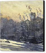 New York Harbor And Skyline At Night Circa 1921 Canvas Print by Aged Pixel