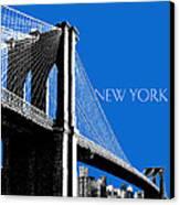 New York Skyline Brooklyn Bridge - Blue Canvas Print by DB Artist