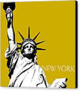 New York Skyline Statue Of Liberty - Gold Canvas Print by DB Artist