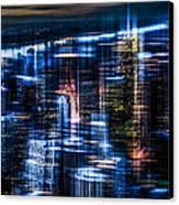 New York - The Night Awakes - Blue I Canvas Print