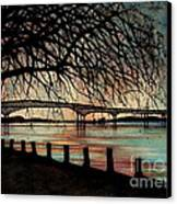 Newburgh Beacon Bridge Sunset Canvas Print by Janine Riley