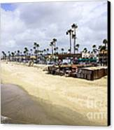 Newport Beach Oceanfront Businesses With Dory Fleet Canvas Print by Paul Velgos