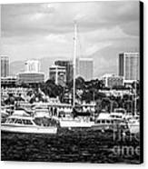 Newport Beach Skyline Black And White Picture Canvas Print by Paul Velgos