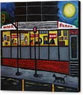 Night At An Arlington Diner Canvas Print by Victoria Lakes