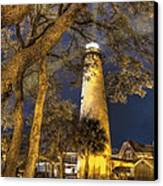 Night Lighthouse Canvas Print by Debra and Dave Vanderlaan