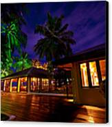 Night Lights At The Resort Canvas Print by Jenny Rainbow