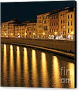 Night View Of River Arno Bank In Pisa Canvas Print