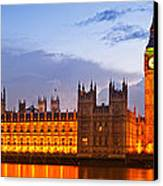 Nightly View - Houses Of Parliament Canvas Print by Melanie Viola