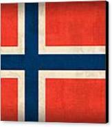 Norway Flag Distressed Vintage Finish Canvas Print