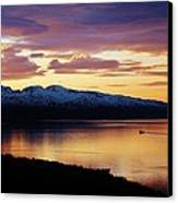 Norwegian Fjordland Sunset Canvas Print