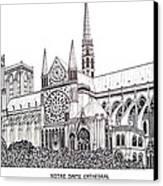Notre Dame Cathedral - Paris Canvas Print by Frederic Kohli