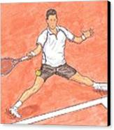 Novak Djokovic Sliding On Clay Canvas Print by Steven White