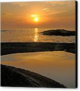 November Sunrise II - Lake Superior Canvas Print by Sandra Updyke