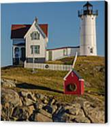 Nubble Light At Christmas Canvas Print by Pat Lucas