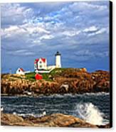 Nubble Lighthouse Canvas Print by Karen Winterholer