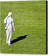 Nun On Green Soccer Field Canvas Print by Brch Photography