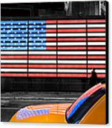 Nyc Cab Yellow Times Square Canvas Print by John Farnan