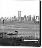 Nyc In The Distance 1990s Canvas Print by John Rizzuto