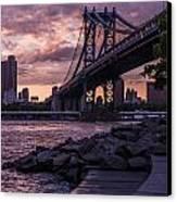 Nyc- Manhatten Bridge At Night Canvas Print by Hannes Cmarits