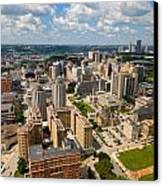 Oakland Pitt Campus With City Of Pittsburgh In The Distance Canvas Print by Amy Cicconi