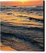 Beach Wave Sunrise Canvas Print by Candice Trimble