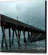 Oean Pier - Surreal Stormy Blue Pier Beach Ocean Fishing Pier With Seagull Canvas Print by Kathy Fornal