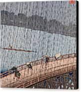 Ohashi Sudden Shower At Atake Canvas Print by Ando Hiroshige