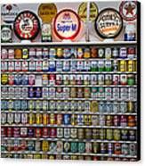 Oil Cans And Gas Signs Canvas Print by Garry Gay