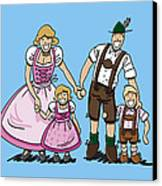 Oktoberfest Family Dirndl And Lederhosen Canvas Print by Frank Ramspott