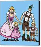 Oktoberfest Family Dirndl And Lederhosen Canvas Print