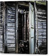 Old Abandoned Well House With Door Ajar Canvas Print by Edward Fielding