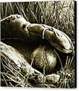 Old Baseball Glove With Ball In The Grass Canvas Print by Sandra Cunningham