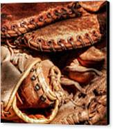 Old Baseball Gloves Canvas Print by Bill Wakeley