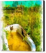 Old Bathtub Near Painted Barn Canvas Print by Amy Cicconi