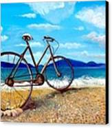 Old Bike At The Beach Canvas Print by Kostas Koutsoukanidis