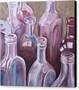 Old Bottles Canvas Print by Kathy Weidner