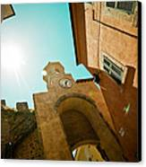 Old Clock On The Tower And Sun Canvas Print