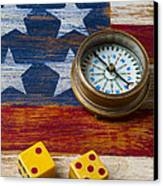 Old Dice And Compass Canvas Print by Garry Gay