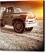 Old Farm Truck With Explosion At Night Canvas Print